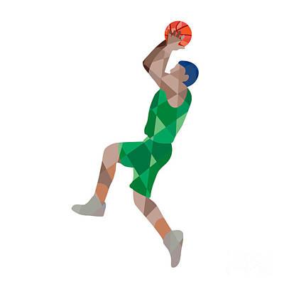 Basketball Player Jump Shot Ball Low Polygon Art Print by Aloysius Patrimonio