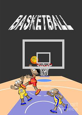 Basketball Player Jumping In The Opposite Area Trying To Score Art Print