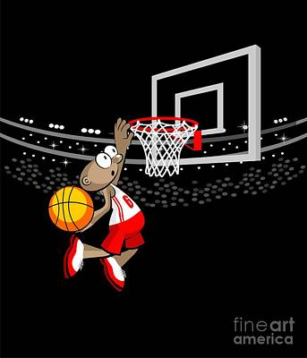 Basketball Digital Art -  Basketball Player Jumping To Hit The Ball by Daniel Ghioldi