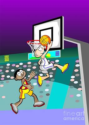 Team Digital Art -  Basketball Player Jumping With The Ball And Trying To Score by Daniel Ghioldi