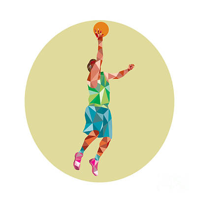 Lay Digital Art - Basketball Player Lay Up Rebounding Ball Low Polygon by Aloysius Patrimonio