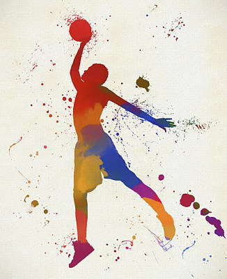 Sports Paintings - Basketball Player Paint Splatter by Dan Sproul
