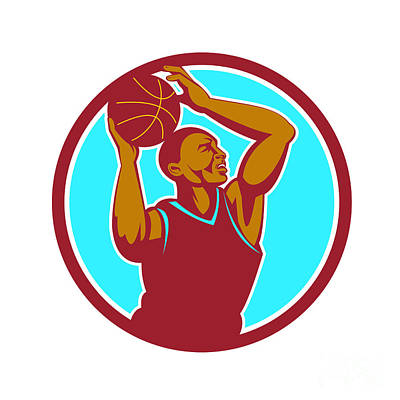 Basketball Player Rebounding Ball Circle Retro Art Print