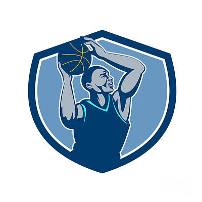 Basketball Player Rebounding Ball Crest Retro Art Print by Aloysius Patrimonio