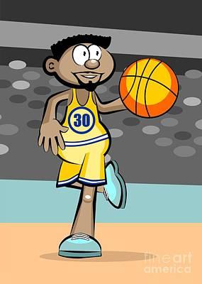 Basketball Player Running While Bouncing The Ball Art Print
