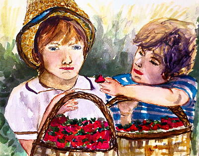 Baskets Of Strawberries Art Print by M L Borges