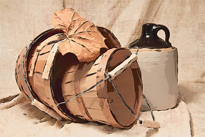 Baskets With Crock I Art Print by Tom Mc Nemar