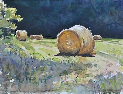 Hay Bales Painting - Basking In The Sun by Spencer Meagher