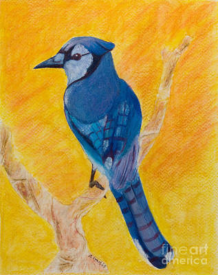 Bluejay Mixed Media - Basking In The Sunset - My Branch by Alison Lynch