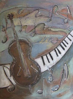 Piano Painting - Bass And  Keys by Anita Burgermeister