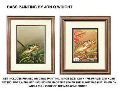 Largemouth Painting - Bass And Log by Jon Q Wright