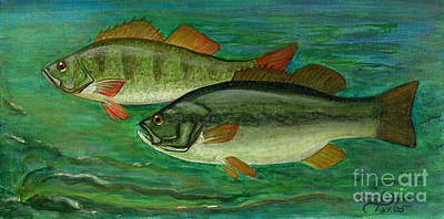 Polscy Malarze Painting - Bass And Perch by Anna Folkartanna Maciejewska-Dyba