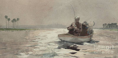 Bass Fishing  Florida, 1890 Art Print