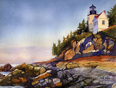 Maine Landscape Painting - Bass Harbor Head Light by Heidi Gallo