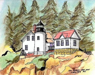 Drawing - Bass Harbor Head Light by Paul Meinerth
