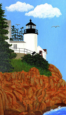 Bass Harbor Head Lighthouse Painting Print by Frederic Kohli