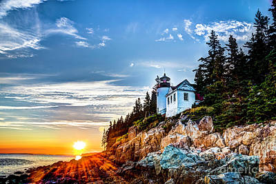 Photograph - Bass Harbor Head Light At Sunset by Jean Hutchison