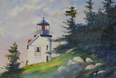 Oberst Painting - Bass Harbor Light by Jim Oberst