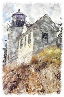 Digital Art - Bass Harbor Light Wc by Peter J Sucy