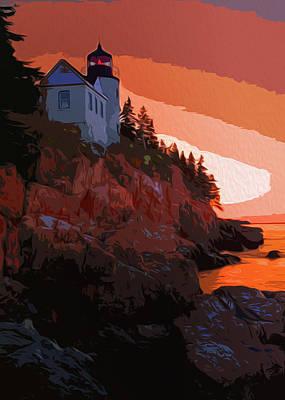 Painting - Bass Harbor Lighthouse, Acadia National Park, Maine by Andrea Mazzocchetti