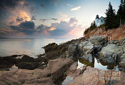 Bass Harbor Lighthouse At Dusk Art Print by Jane Rix