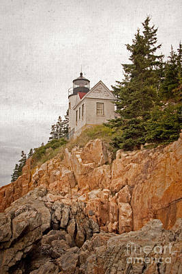 Photograph - Painterly Bass Harbor Head Lighthouse by John Stephens