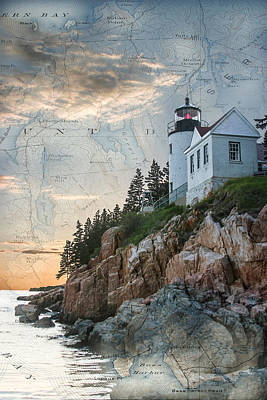 Bass Harbor Lighthouse On Maine Nautical Chart Art Print by Jeff Folger