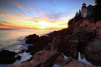 Photograph - Bass Harbor Lighthouse Sunset Seascape by Roupen  Baker
