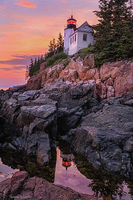 Maine Cottage Photograph - Bass Harbor Lighthouse by Thomas Schoeller