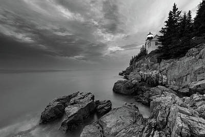 Photograph - Bass Harbor Mood - B/w by Michael Blanchette