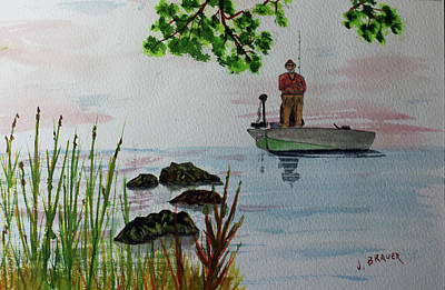 Painting - Bass Hunt by Jack G Brauer