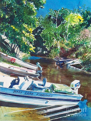 Painting - Bass Lake Channel, Pentwater, Michigan, Fishing Boats, Boating, Boat Paintings, Boat Prints by LeAnne Sowa