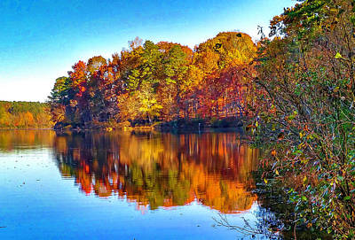 Photograph -  Bass Lake, Nc, Fall Colors by Jim Moore