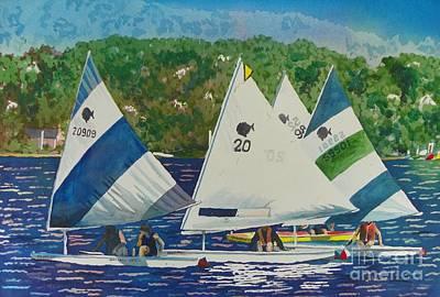 Bass Lake Races  Art Print by LeAnne Sowa