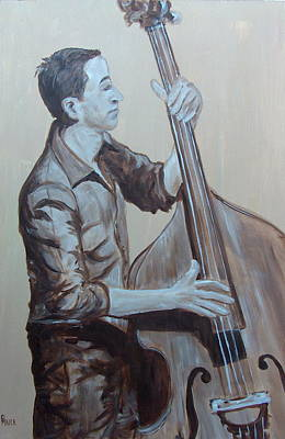 Double Bass Painting - Bass Man II by Pete Maier