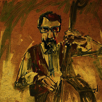 Digital Art - Bass Player by Jim Vance