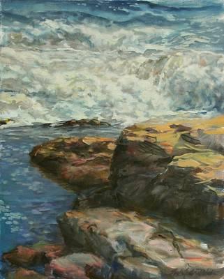 Splish Splash Painting - Bass Rocks Tide Pool by Sharon Jordan Bahosh