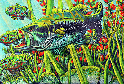 Fish Underwater Painting - Bass Taking Blue Gill by Bob Crawford