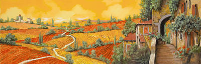 Oil Landscape Painting - Bassa Toscana by Guido Borelli