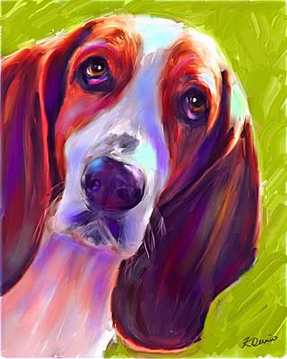 Hound Dog Digital Art - Basset Beauty by Karen Derrico