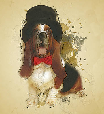 Watercolor Pet Portraits Mixed Media - Basset Hound by BONB Creative