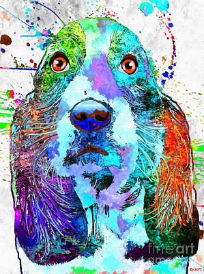 Watercolor Pet Portraits Mixed Media - Basset Hound by Daniel Janda