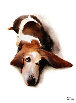 Basset Painting - Basset Hound I - Lulu by David Breeding