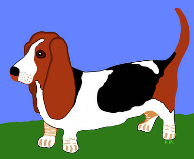 Painting - Cartoon Basset Hound In The Yard by Marian Cates