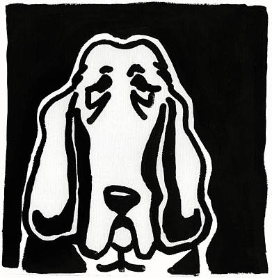 Drawing - Basset Hound Ink Sketch by Leanne WILKES