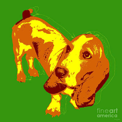 Art Print featuring the digital art Basset Hound Pop Art by Jean luc Comperat
