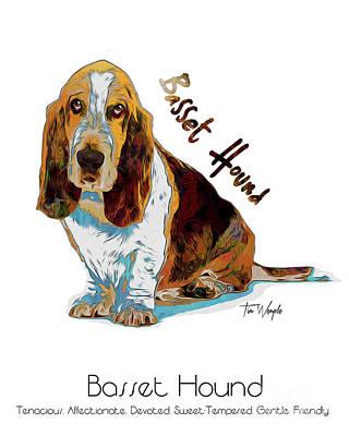 Digital Art - Basset Hound Pop Art by Tim Wemple