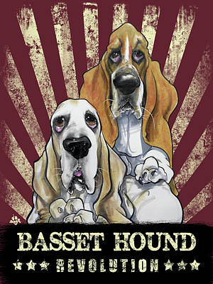 Drawing - Basset Hound Revolution by John LaFree