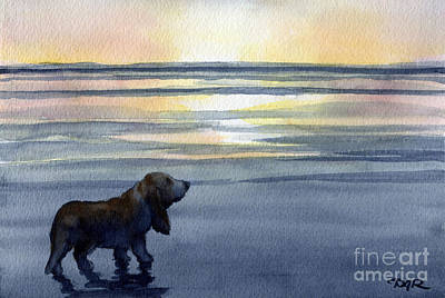 Basset Hound Sunset Art Print by David Rogers