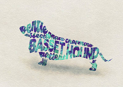 Painting - Basset Hound Watercolor Painting / Typographic Art by Inspirowl Design